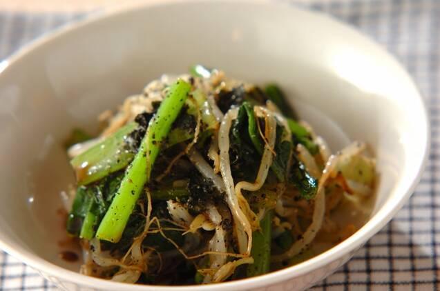 小松菜ともやしとのりの黒ゴマ和えサラダ