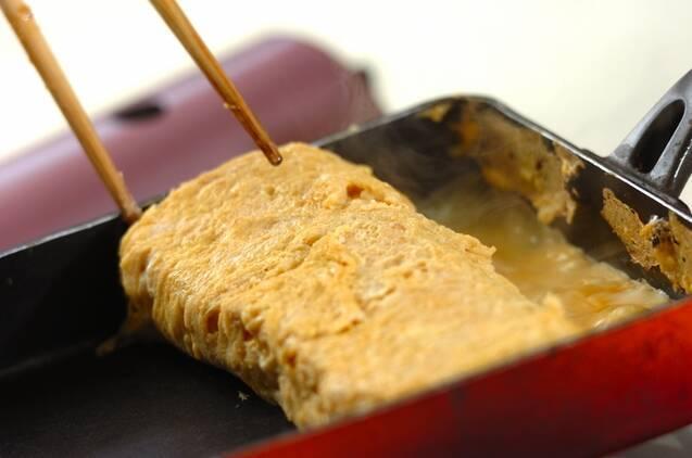 だし巻き卵と明太子の手巻き寿司の作り方の手順1