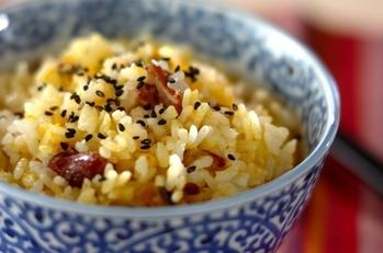 カボチャとサツマイモ、金時豆の炊き込みご飯