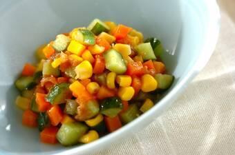キューブ野菜の梅オイル和え
