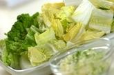 白菜とカニの中華スープの作り方1