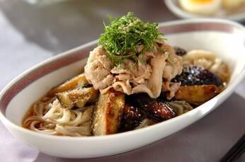 豚しゃぶと揚げナスの素麺