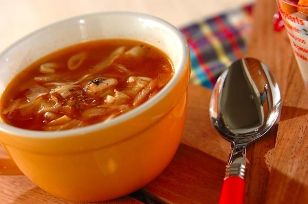 トマトピューレのチキンスープ
