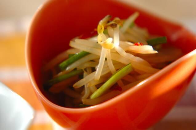 豆板醤などで味付けされたゆでもやしの辛味和えがオレンジ色の器に盛られている