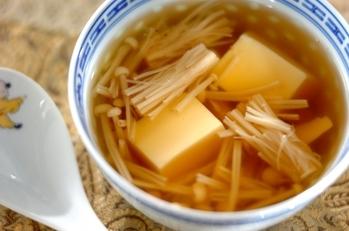 エノキと卵豆腐のスープ