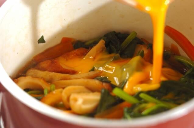 ホウレン草とちくわの卵とじの作り方の手順3