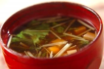 水菜と豆腐の和風スープ