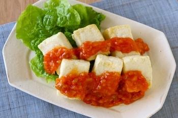 豆腐ステーキのチリソース