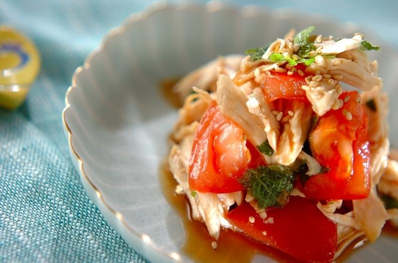 ささ身とトマトの和風青じそサラダ