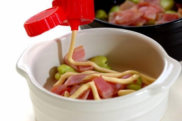 ソラ豆とベーコンのマヨネーズ焼きの作り方の手順3