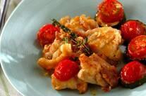 鶏とズッキーニのガーリックソテー
