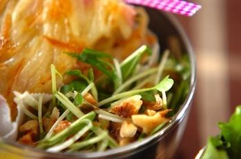 貝われ菜と水菜のサラダ