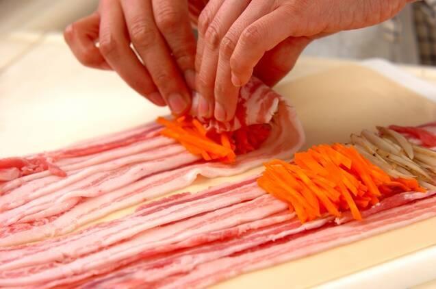 豚肉のレンジロールの作り方の手順3