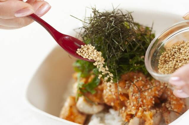 カフェ風鶏マヨキムチ丼の作り方の手順5
