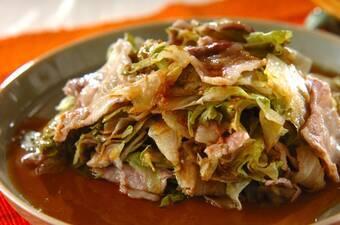 レタスと豚バラ肉のレンジ蒸し