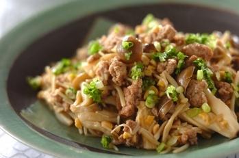納豆とキノコの炒め物