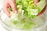 レタスとゆで卵のサラダの下準備1