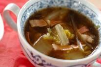 白菜とベーコンの昆布だしスープ