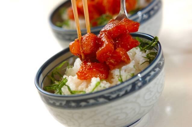 サーモンの韓国風漬け丼の作り方の手順3