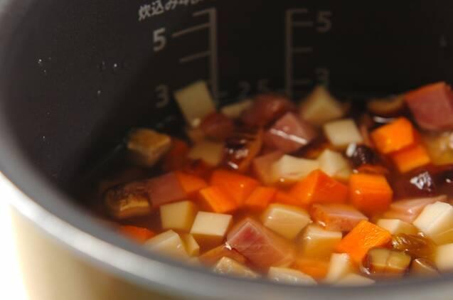 焼豚入り炊き込みご飯の作り方の手順3