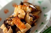 イカとシイタケの塩昆布炒め