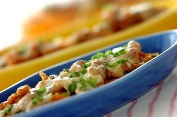 長芋と豚肉のピリ辛レンジ蒸し