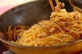 鶏ゴボウの甘辛スパゲティーの作り方3