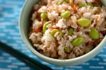 枝豆と梅干しのジャコご飯