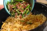 グリーンアスパラとベーコンの卵チャーハンの作り方4