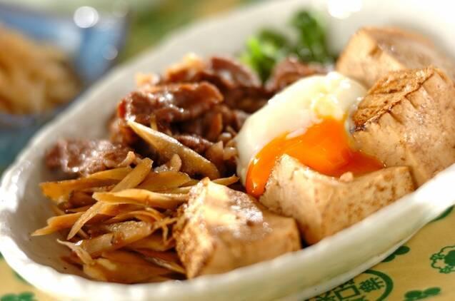 ごぼうと牛肉と焼き豆腐が入ったすき焼き風肉豆腐