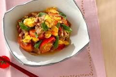 トマトと豚肉の卵炒め