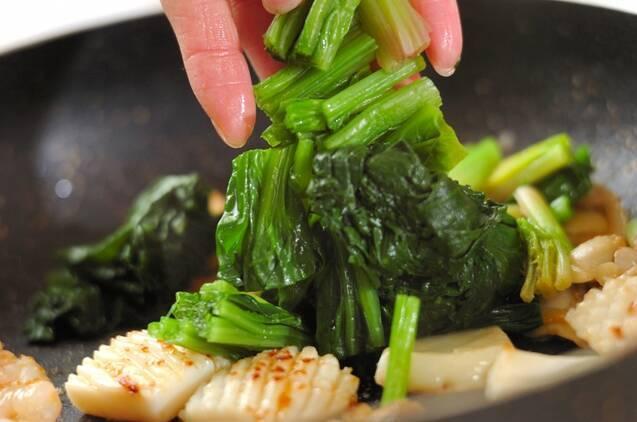 ホウレン草とシーフードの塩焼きそばの作り方の手順3