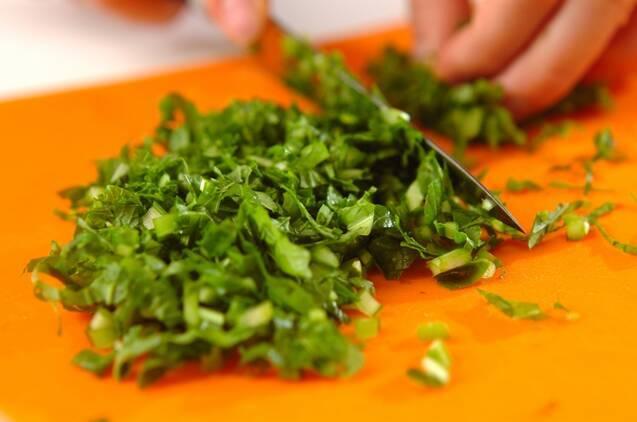 白菜とカブの葉のお漬物の作り方の手順2