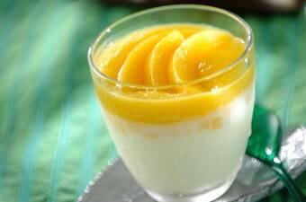 黄桃ミルクプリン