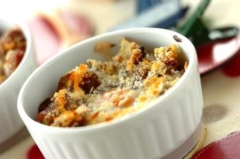 半熟卵の根菜カレーグラタン
