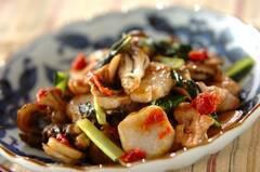 里芋と豚肉の梅肉ダレ炒め