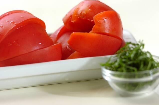 トマトのだししょうゆ漬けの作り方の手順1