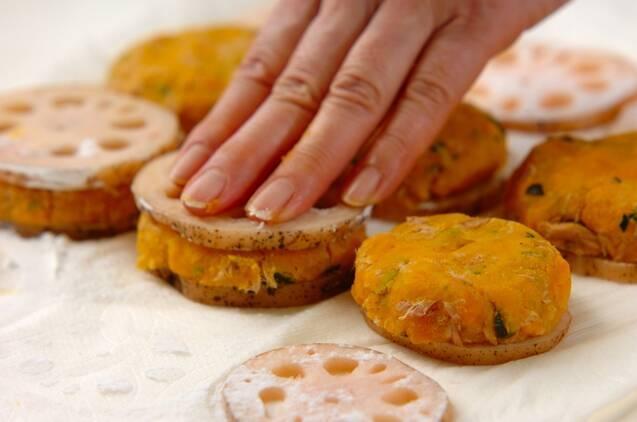 マッシュカボチャのレンコンはさみ揚げ焼きの作り方の手順3