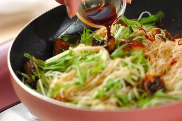 ウナギの素麺ペペロンチーノの作り方の手順5