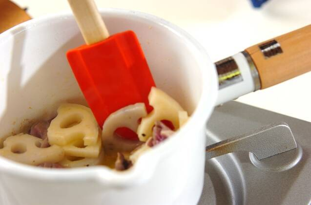 砂肝とレンコンのアヒージョの作り方の手順2