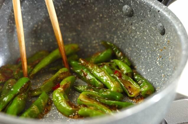 シシトウのピリ辛炒めの作り方の手順3