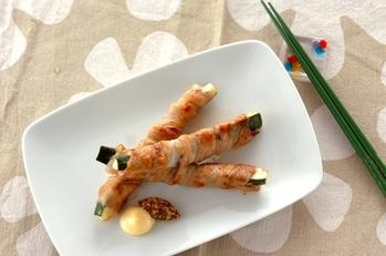 ズッキーニの豚バラ巻き焼き