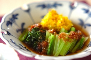 菊花と小松菜のお浸し