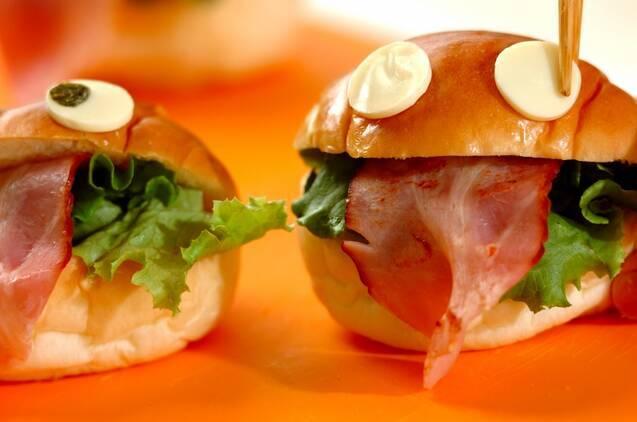 お化けサンドイッチの作り方の手順3
