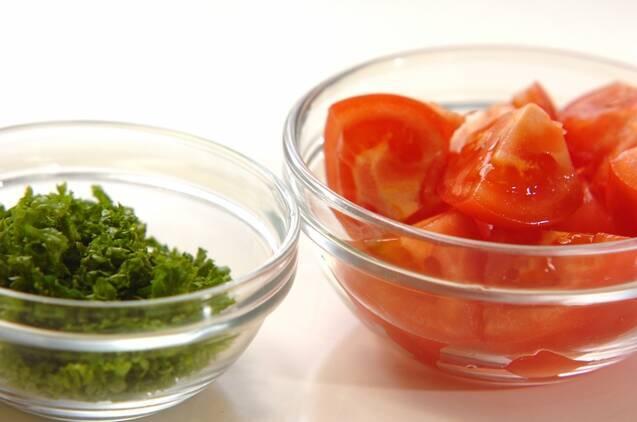 イカとトマトのパセリ炒めの作り方の手順2