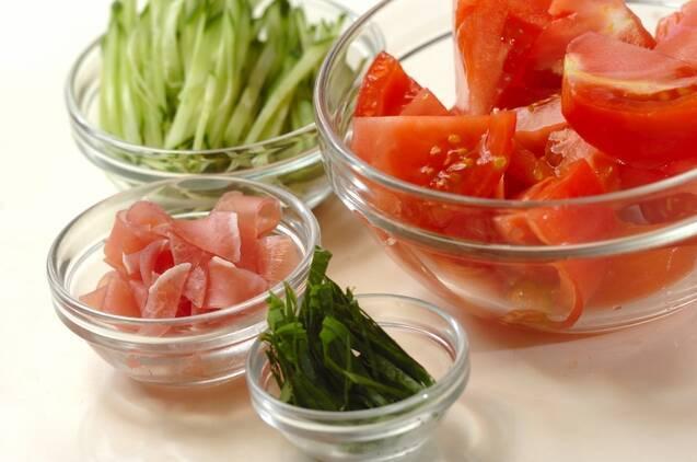 生ハムとツナの冷製トマトスパゲティーの作り方の手順1