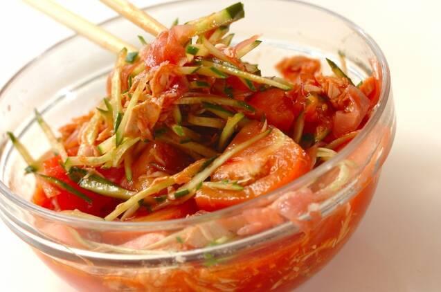 生ハムとツナの冷製トマトスパゲティーの作り方の手順2