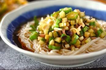 野菜たっぷり山形のダシのせ素麺