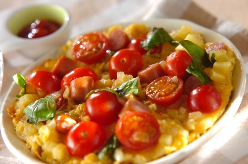 トマトのオープンオムレツ