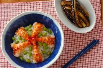 エビと枝豆のショウガ入りちらし寿司の献立